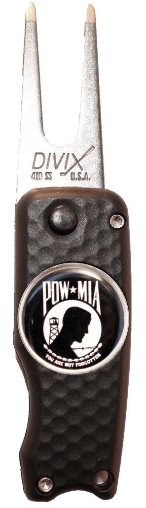 DX Switchblade Divot修復ツールW / pow-miaボールマーカー| Made in USA B00P2SDELM Black with POW logo