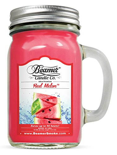 Watermelon Scented Jar Candles (12oz Red Melon Scented Beamer Candle Co. Ultra Premium Jar Candle. 90 Hr Burn Time. USA Made)