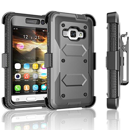 Galaxy Luna Case, Galaxy Amp 2 Case, Galaxy Express 3 Case,J1 2016 Case, Tekcoo [Tshell] [Gray] Shock Absorbing [Built-in Screen] Holster Locking Belt Clip Case Cover for Samsung Galaxy J1 2016