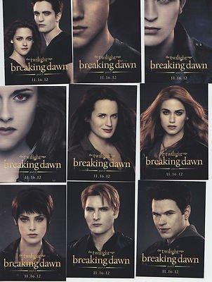 2012 SDCC Comic Con Twilight Breaking Dawn Teil 2 Promo Trading Card Set alle 15 von Summit Entertainment