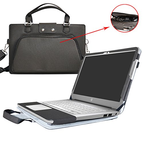 HP Chromebook 14 Case,2 in 1 Accurately Designed Protective PU Leather Cover + Portable Carrying Bag For 14