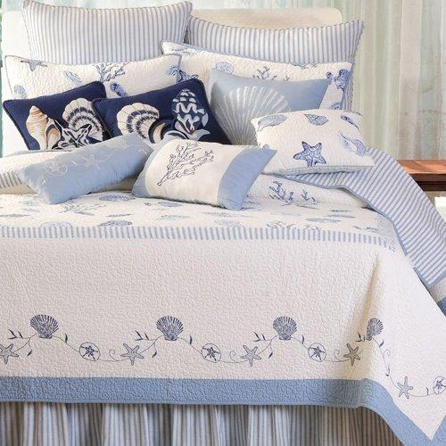 Newport Nautical Throw (C&F Home Blue Ticking Bed Skirt, Queen)