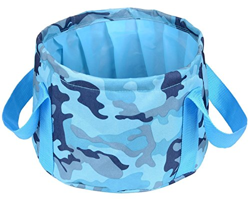 (HQST Collapsible Folding 15L Camouflage Blue Water Bucket with Carrying Pouch Perfect Gear for Camping Hiking Travel)