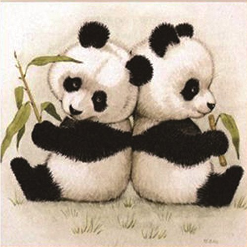 Boy and Girl Twin Two Pandas 5D DIY Decor Diamond Painting,Pausseo Xmas Gift Drilling Drawing Accessories Cross Stitch Kits Embroidery Picture Rhinestone Pasted Home Decor for Adults or Kids - 30x30cm