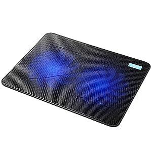 AVANTEK Laptop Cooling Pad, 2 x 160mm Heavy Duty Fans, Ultra Slim Quiet Notebook Cooler with Adjustable Mounts, 2 USB Ports, Blue LED Lights