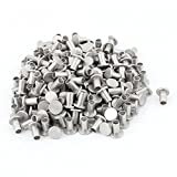 200 Pcs M6 x 10mm Aluminum Flat Head Semi-Tubular Rivets Silver Tone