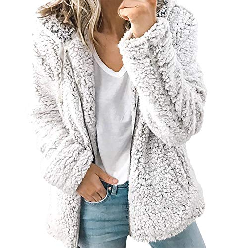 Misaky Women's Cardigan Autumn Zipper Thick Hooded Faux Fur Coat Open Stitch Solid Jacket (Gray, Medium) (Sleeve Fur Faux Boot)
