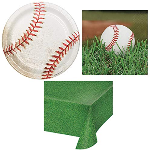 Baseball Birthday Disposable Paper Party Supplies Serves 16: Plates + Napkins + Table Cover ()