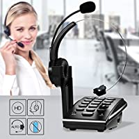 Ailink Dialpad with Monaural Corded Headset, PC Recording Call Center Telephone, Noise Cancellation - Black