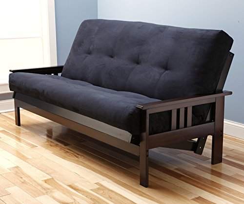 Full Size Monterey Espresso Futon | Suede Black Futon Mattress For Sale