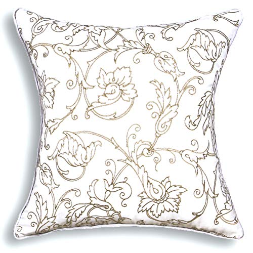 millianess Decorative Throw Pillow Cover Embroidered Floral Pattern Cushion Case for Individual Cushions 18x18 Inches(White)