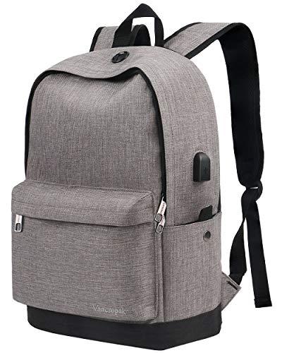 - School Backpack, 16 Inch Laptop Backpack, Water Resistant Travel School Bags, Ergonomic Designer with USB Charging Port - Gray