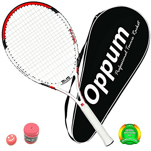 OPPUM Adult Full-Carbon /Aluminum-Carbon Tennis Racket Optional, Full-Carbon Fiber Tennis Racquet Super Light Weight Shock-proof and Throw-proof, Include Tennis Bag Tennis Overgrip Vibration Dampener