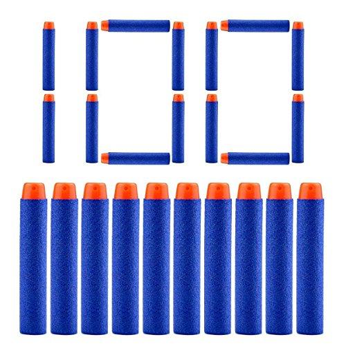 QUN FENG Refill Bullet Darts 100PCS Foam Premium Bullets Ammo Pack Compatible with Nerf N-strike Modulus Elite Series Blasters, Blue