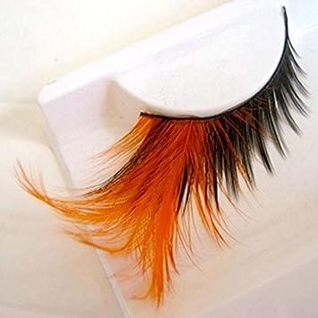 915683f21e4 Amazon.com : Orange False Eyelashes Pure Handmade Cotton Stalk Makeup Fake  Eyelashes Color Feather Eyelashes Winged Soft Lashes 1 box 1 pairs : Beauty