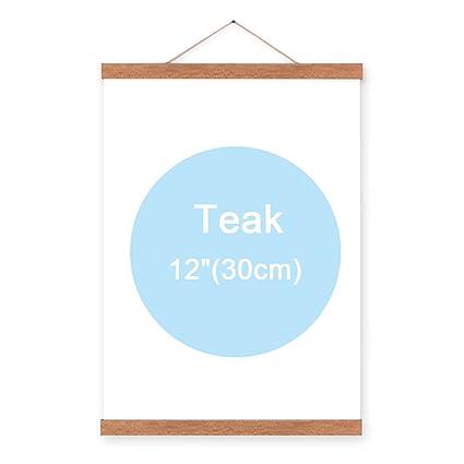Lemo Magnetic Poster Frame Hanger Oak Wood Artwork Print Holder Canvas Quilt Wooden Hanging Hd07 Teak Color