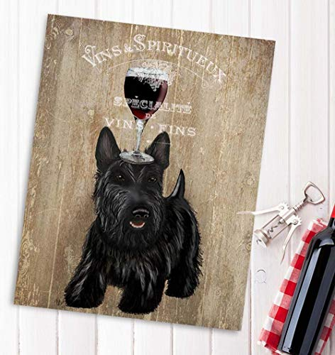 Cazvas Scottish Terrier Art Print - Dog Au Vin - Scottish Terrier Print Wall Art Home bar Decor Wine Gift Scottie Dog Art Dog Owner No-Frame