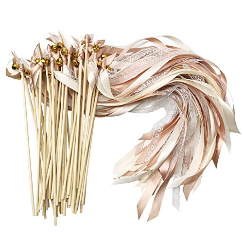 CIEOVO 50 Pack Ribbon Wands Wedding Streamers with Bells, Silk Fairy Stick Wand Party Favors for Party Activities Baby Shower Holiday Celebration (Champagne -