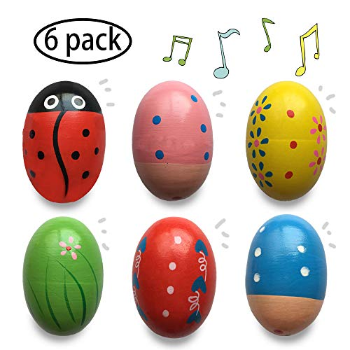 Jofan 6 Pack Wooden Percussion Musical Shake Egg Easter Egg Shakers for Kids Boys Girls Toddlers Easter Gifts Easter Basket Stuffers Fillers for $<!--$9.99-->