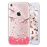 Enflamo 3D Relief Flower Phone Case Pattern Design Printed Case Soft TPU for iPhone 7 Embossed for iPhone 7/iPhone 8 (iPhone 7/iPhone 8, Cherry Blossom)