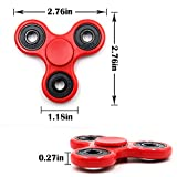 NEWBEA Hand Spinner Tri-Spinner Fidget Spinner Toy Stress Reducer - Perfect For ADD, ADHD, Anxiety, and Autism Adult Children (Three wings red A)