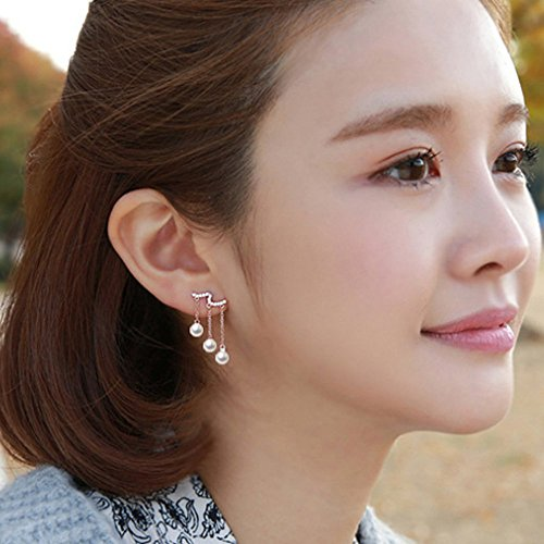 A&C Fashion Korean Version Beads Pendant Earrings for Women. Unique Handmade Earrings Jewelry for Girl. (Silver (Korean Style Earrings)