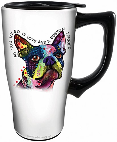 Boston Ceramic Terrier - Spoontiques 12813 Boston Terrier Ceramic Travel Mug, White/Multicolor