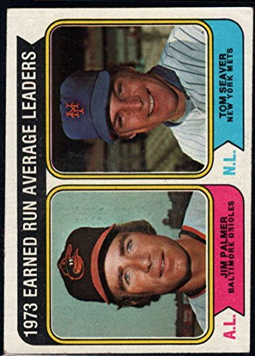 Jim Palmer Baseball - Baseball MLB 1974 Topps #206 Jim Palmer/Tom Seaver ERA Leaders