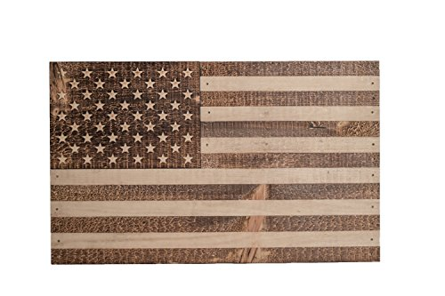 Flintface Wood Shop Handmade Wooden Official American Flag - Made in USA - Support (American Flag Plaque)