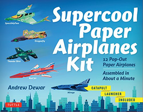 Supercool Paper Airplanes Kit: 12 Pop-Out Paper Airplanes Assembled in About a Minute: Kit Includes Instruction Book, Pre-Printed Planes & Catapult Launcher (Paper Planes Origami Kit)
