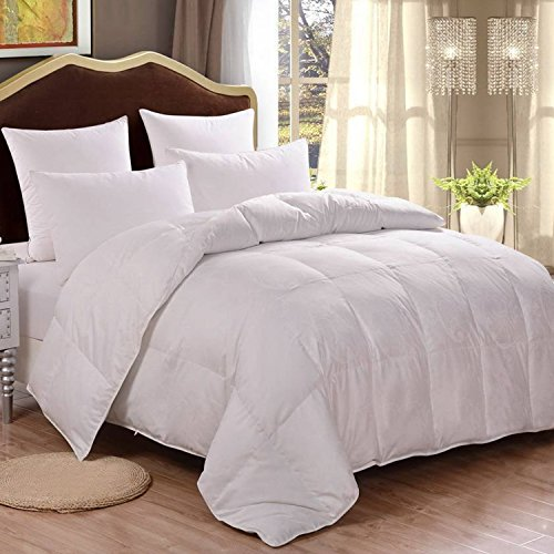 HOMFY 100% Cotton Queen Comforter, Duvet Insert with Corner Tabs, Down Alternative Quilted Comforter for All Seasons, Hypoallergenic, Soft and Breathable (White, Queen)