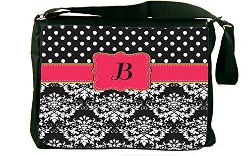 "Rikki KnightTM Rikki Knight Initial ""B"" Pink Green Black Damask Dots Monogrammed Messenger Bag - Shoulder Bag - School Bag for School or Work"