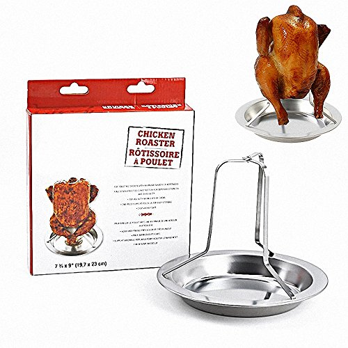 Stainless Steel Chicken Roaster Stand - Comkit Vertical Poultry Chicken Duck Goose Turkey Roasting Rack Holder with Deep Pan for Grill, BBQ, Oven by Comkit