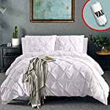 California King Duvet Cover Vailge 3 Piece Pinch Pleated Duvet Cover with Zipper Closure, 100% 120gsm Microfiber Pintuck Duvet Cover, Luxurious & Hypoallergenic Pintuck Decorative (White,California King)