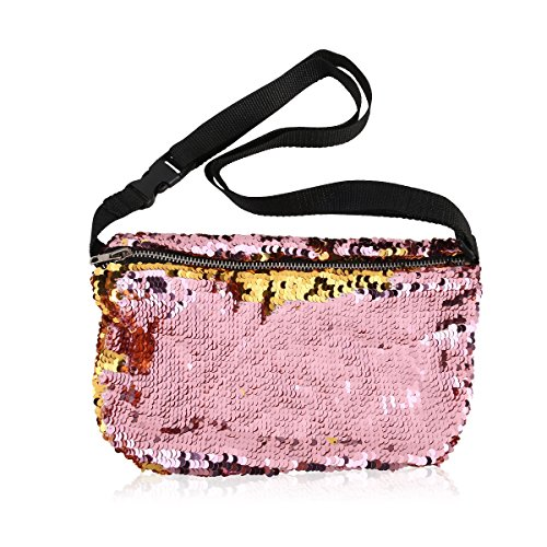 Price comparison product image OULII Sports Bag Casual Bag Waist Pack Waist Bag Double Color Sequins Valentine's Day gift for women girls (Gold + Pink)