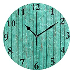 Dozili Turquoise Wood Round Wall Clock Arabic Numerals Design Non Ticking Wall Clock Large for Bedrooms,Living Room,Bathroom