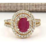 Fashion Women 18K Yellow Gold Plated Oval Cut Ruby Ring Wedding Jewelry Sz 6-10#by pimchanok shop (10)
