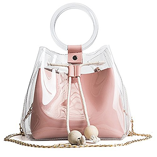 JUMENG Women's Tote Bag Clear Drawstring Fashion Shoulder Handbags Satchel Bags