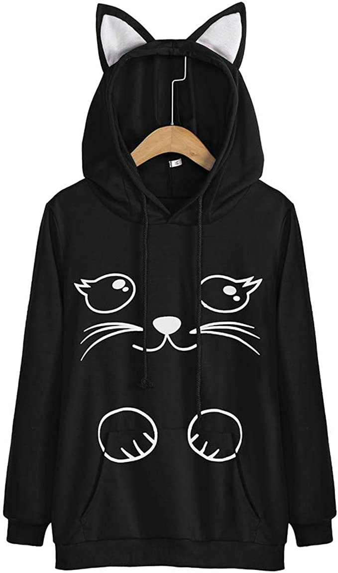 Etecredpow Womens Large Size Pullover Letter Print Long Sleeve Loose Fit Hooded Sweatshirt