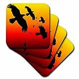 3dRose cst_78713_3 Ravens on A Red Sky- Animal, Bird, Birds, Crow, Halloween, Myth, Mythological, Mythology, Raven-Ceramic Tile Coasters, Set of 4