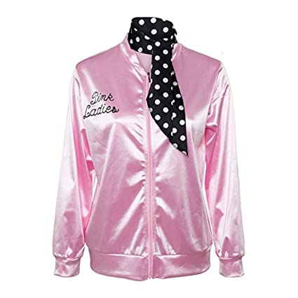 fa2072c1037de Amazon.com  KFSO Classic Bomber Satin Jacket Vintage Long Sleeve Pink  Ladies Padded Slim Fit Biker Coat with Polka Dot Scarf (Pink