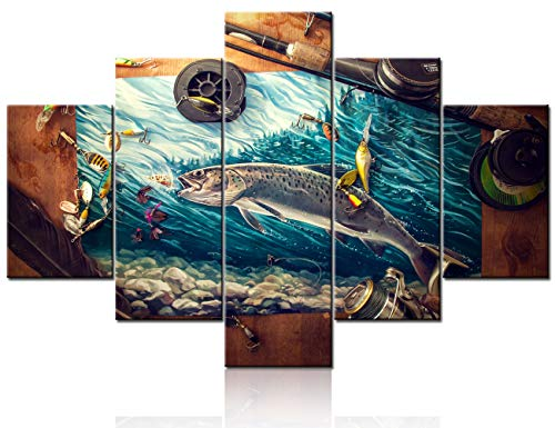 Wall Art for Living Room Fishing Reel and Rod Pictures Fish Angling Paintings 5 Panel Printed on Canvas Landscape Artwork Rustic House Decor Wooden Framed Gallery-Wrapped Ready to Hang(60''Wx40''H)