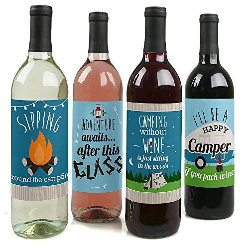 Happy Campers Wine Bottle Label Stickers - Set of 4