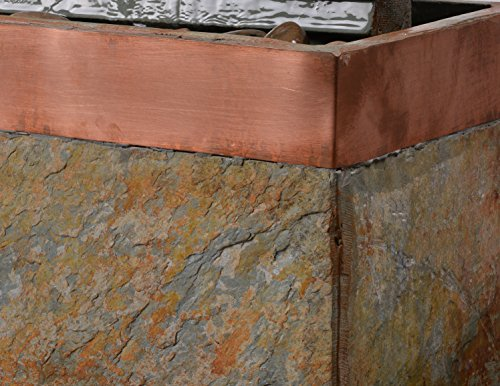 Kenroy Home 51013SLCOP Stave Indoor/Outdoor Fountain with Light, 48 Inch Height, Natural Green Slate and Copper Finish - NATURAL SLATE FINISH: adds a unique natural beauty to each piece SLATE: Constructed of thick and durable slate, this fountain is built to withstand the hazards of postal delivery all the way through weekend gardener stumbles DIMENSIONS: 48-inch Height, 16-inch width, 8-inch Extension - patio, outdoor-decor, fountains - 51InGmAEHXL -
