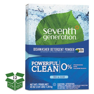 Seventh Generation SEV 22150 Natural Automatic Dishwasher Powder, Free and Clear, 45 oz. Box (Pack of 12)
