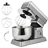 Rapesee 6 Speed 5L Multi-Functional Stand Mixer Kitchen Dough/ Beater/ Whisk 120V/650W Electric Mixer Machine with 5.3qt Bowl (silver)