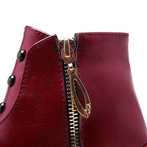 Allhqfashion Mujeres Con Cremallera Low-heels Pu Solid Low-top Botas Rojo
