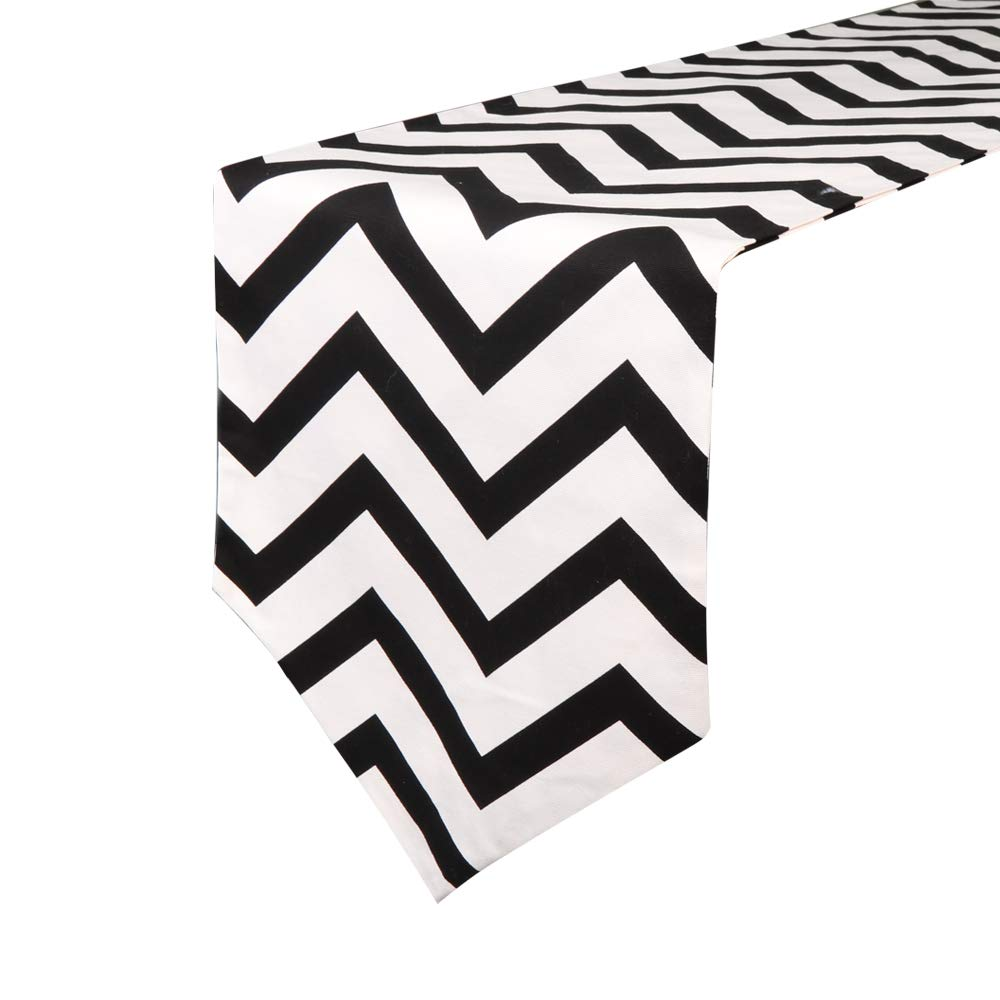 Uphome 1pc Classical Chevron Zig Zag Pattern Table Runner Cotton Canvas Fabric Table Top Decoration Yellow and White COMINHKPR135531