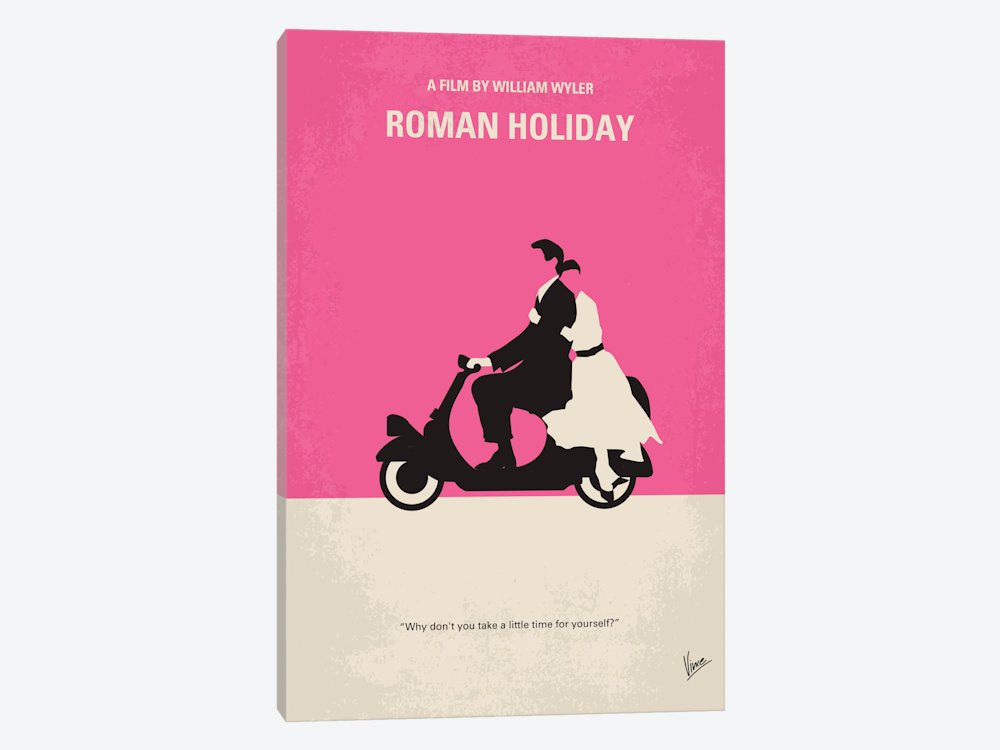 iCanvasART Roman Holiday Minimal Movie Poster Canvas Print, 40'' x 0.75'' x 26''