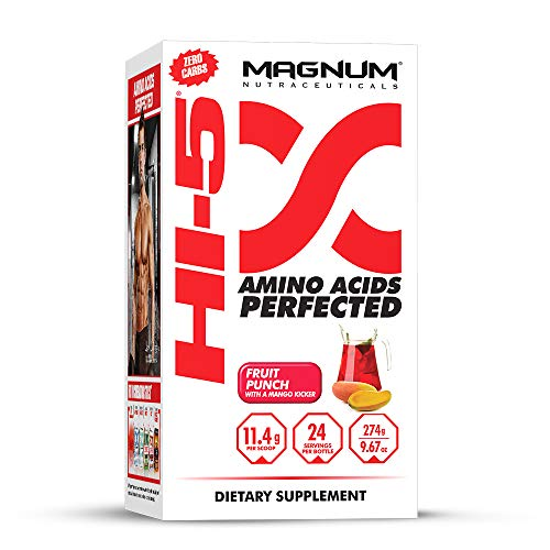 Magnum Nutraceuticals HI-5 Fruit Punch - 24 Servings - Amino Acids - Gain Lean Muscle - Reduce Fatigue - Recovery